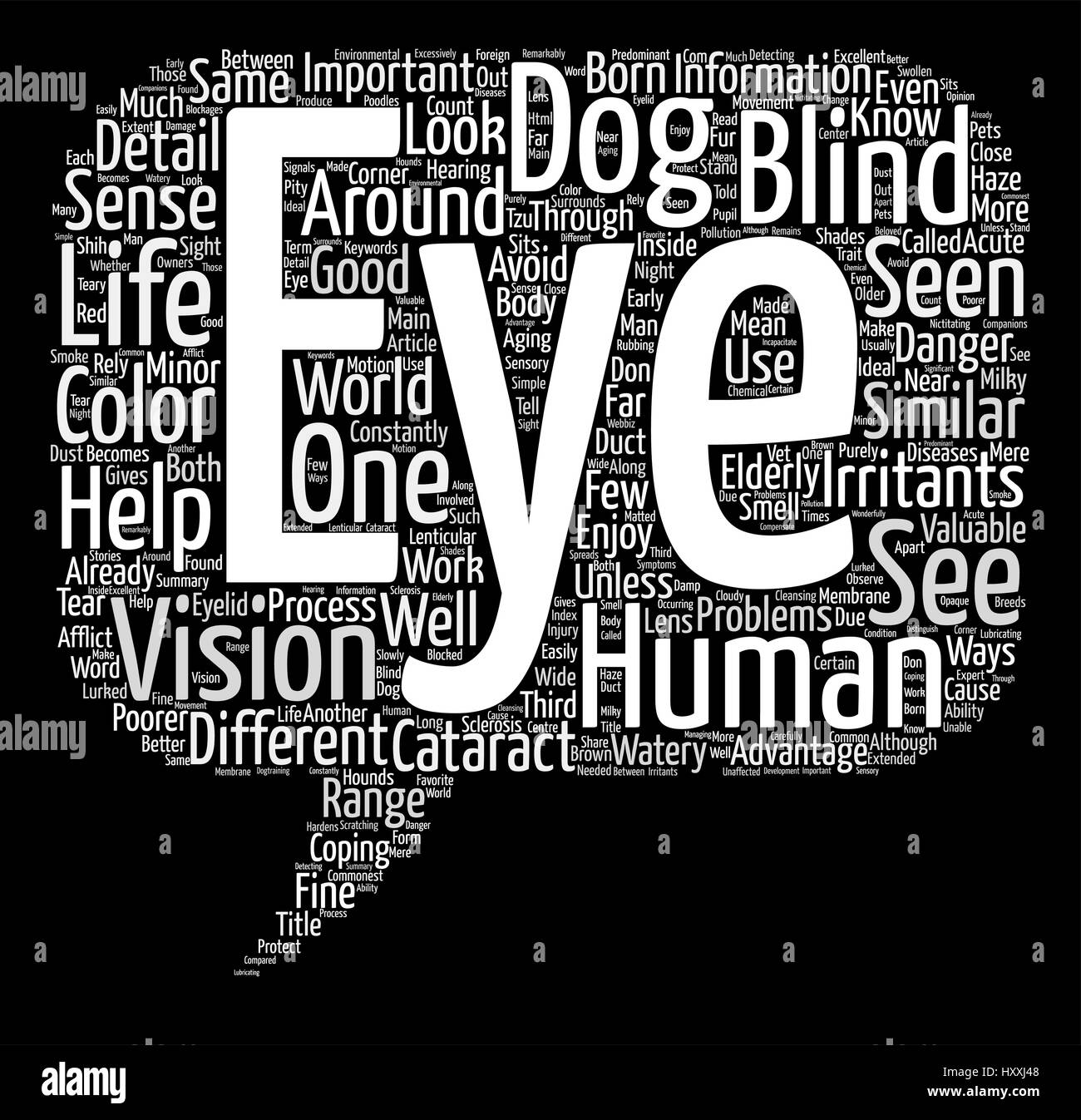 Through Your Dogs Eyes Word Cloud Concept Text Background - Stock Image