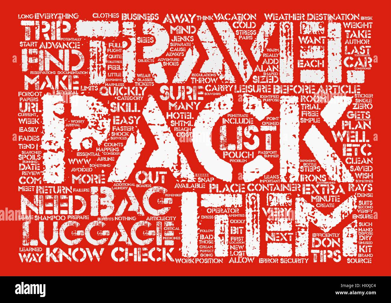 Tips to Quickly and Efficiently Pack Your Luggage text background word cloud concept - Stock Vector