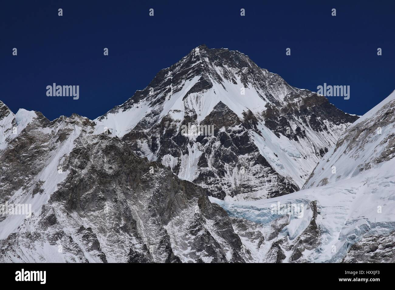 Khumbutse. High mountain on the border from Nepal and China. View from Kala Patthar, Everest National Park. - Stock Image