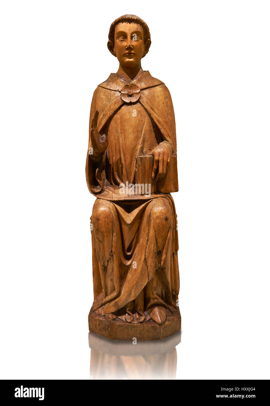 Gothic statue of Saint Peter by Joan Gasco. Stucco reliefs in gold leaf on wood. C.1516. Church of Santa Maria of - Stock Image