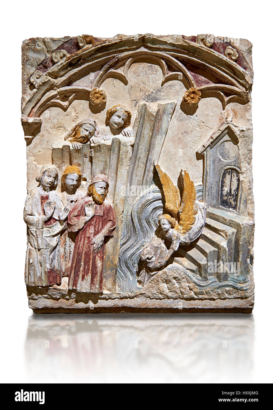 Late 13th century Gothic Bas-relief depicting the miracle performed by St Michael at Mont St Michael. The Master - Stock Image