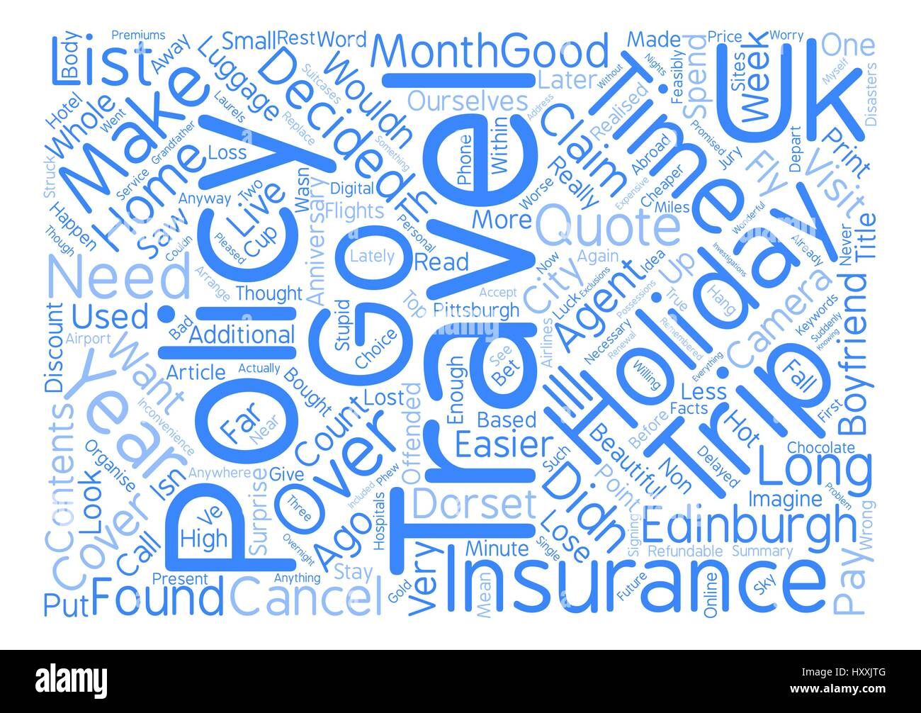 Travel Insurance Is It Necessary For A UK Based Holiday text background word cloud concept - Stock Vector