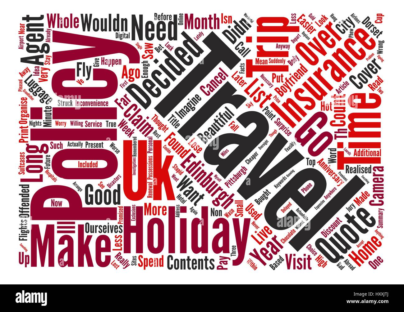 Travel Insurance Is It Necessary For A UK Based Holiday Word Cloud Concept Text Background - Stock Vector