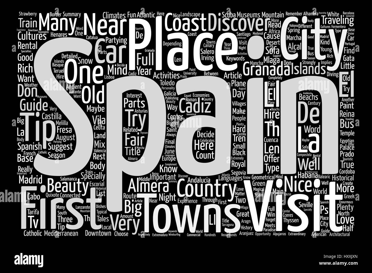 Travellers Guide to Spain text background word cloud concept - Stock Vector