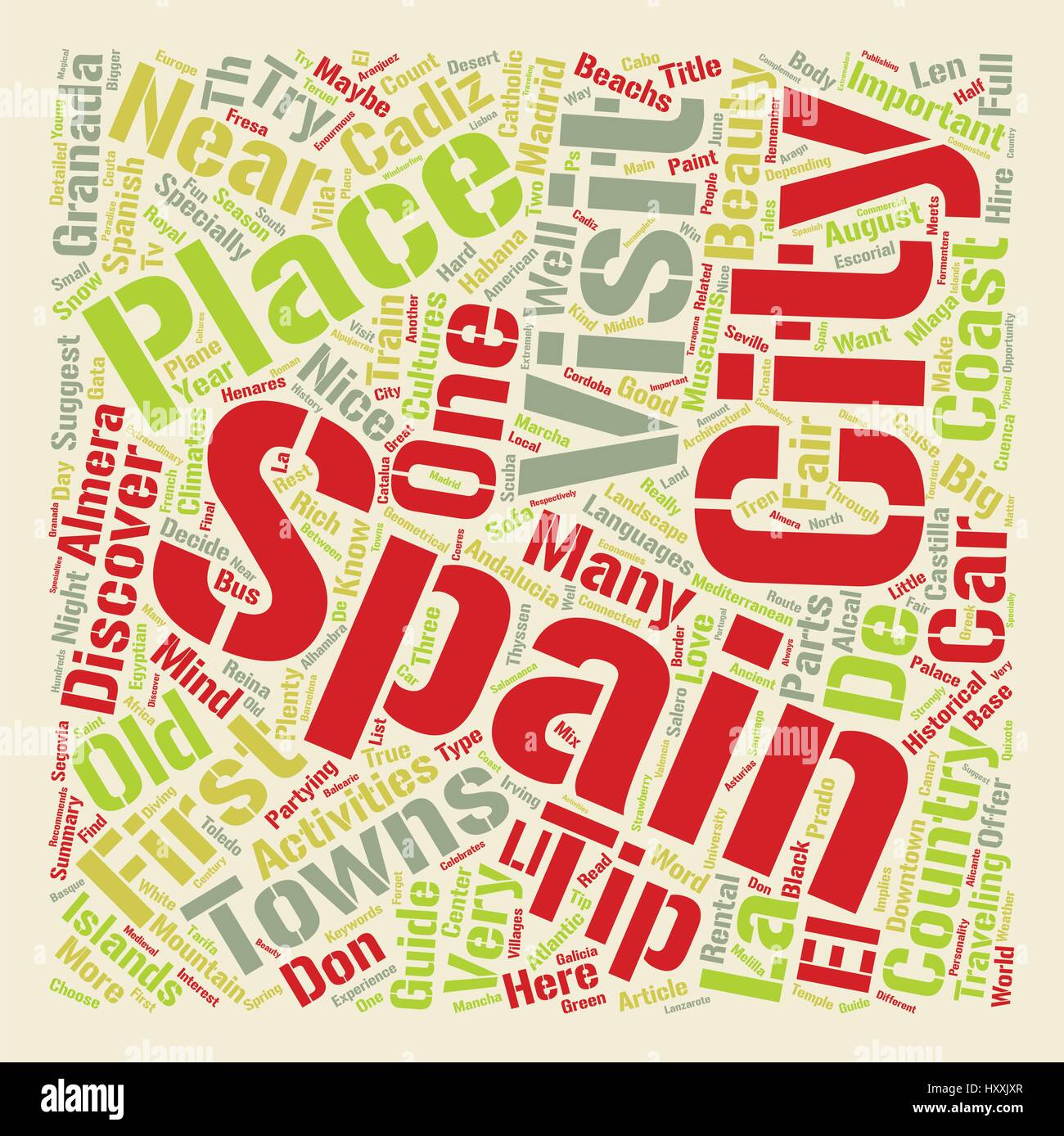 Travellers Guide to Spain Word Cloud Concept Text Background - Stock Vector