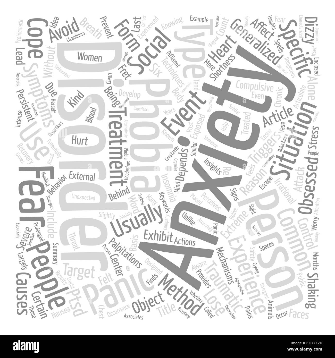 Types of Anxiety Disorders text background word cloud concept - Stock Image
