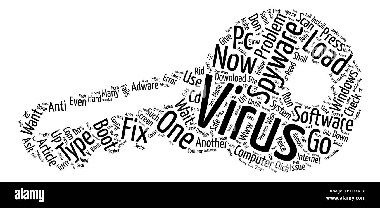 Virus Spyware Fix s text background word cloud concept - Stock Image