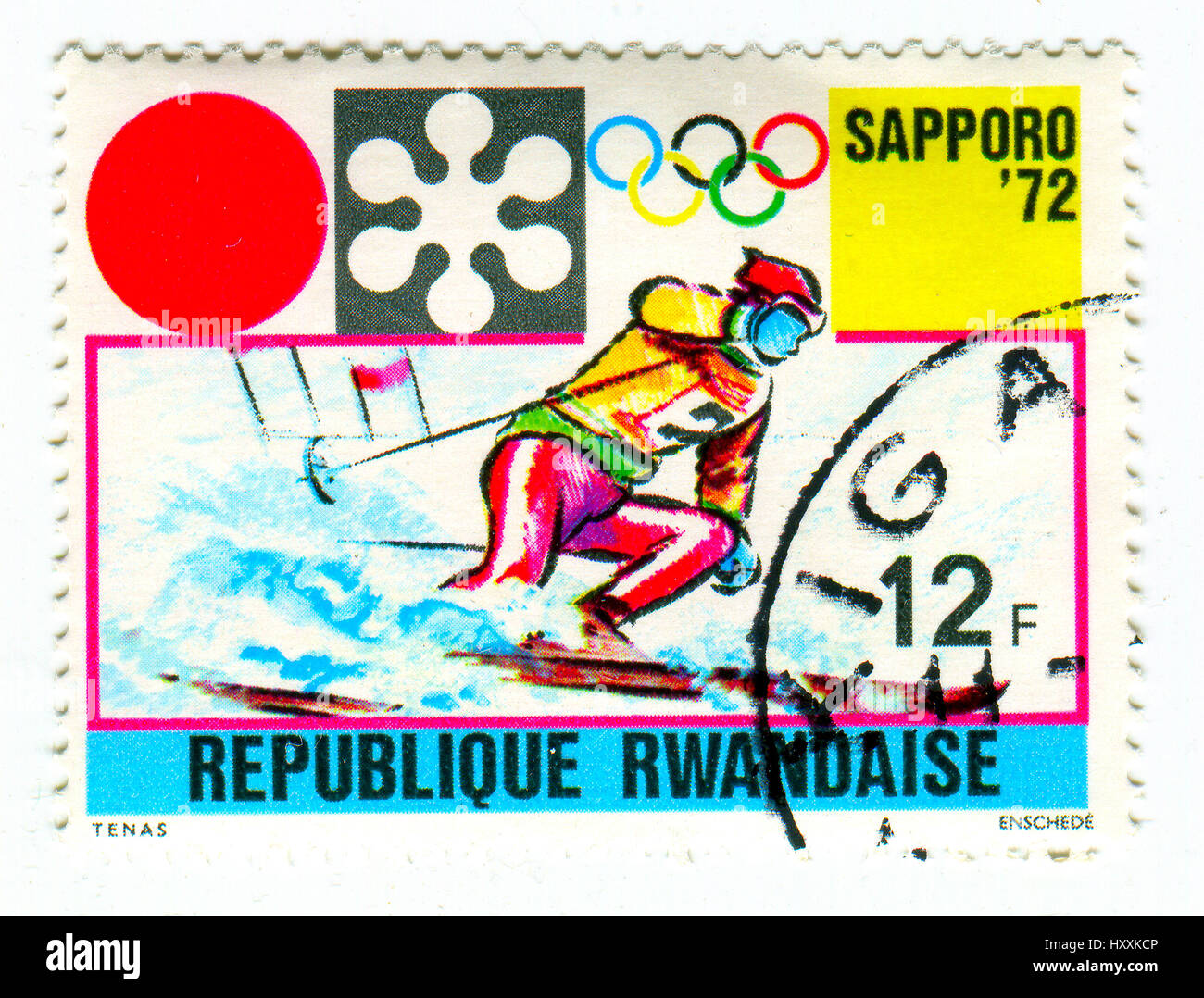 GOMEL, BELARUS, 27 MARCH 2017, Stamp printed in Rwanda shows image of the 1972 Winter Olympics, officially known - Stock Image
