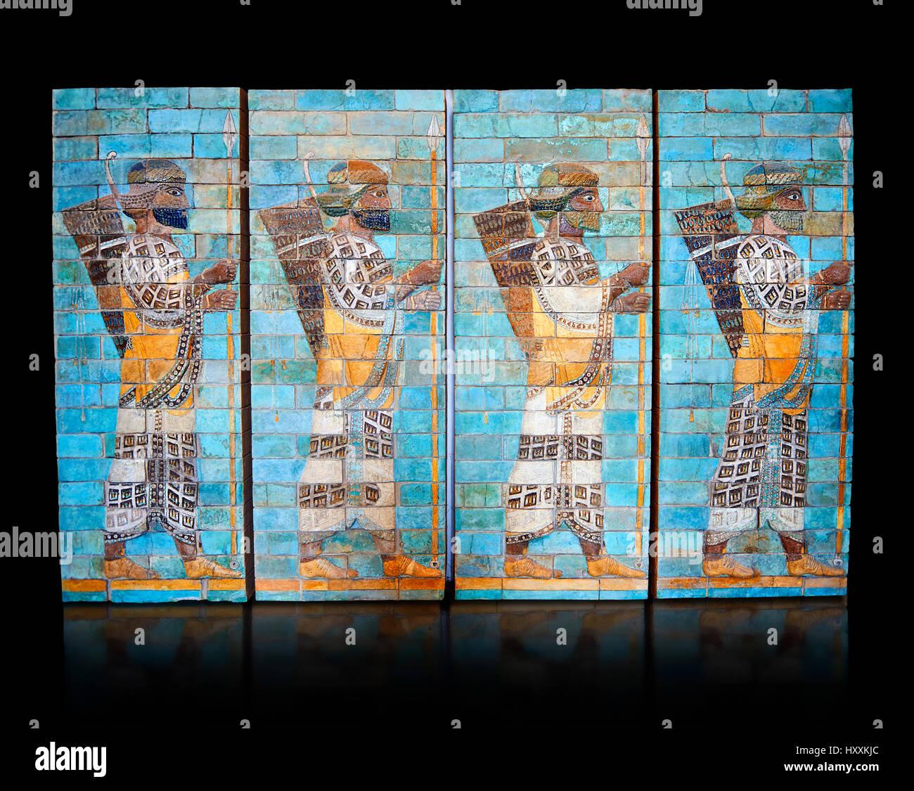 Glazed terracotta brick panels depicting Achaemenid Persian archers. Reign of Darius 1st, First Persian Empire, - Stock Image