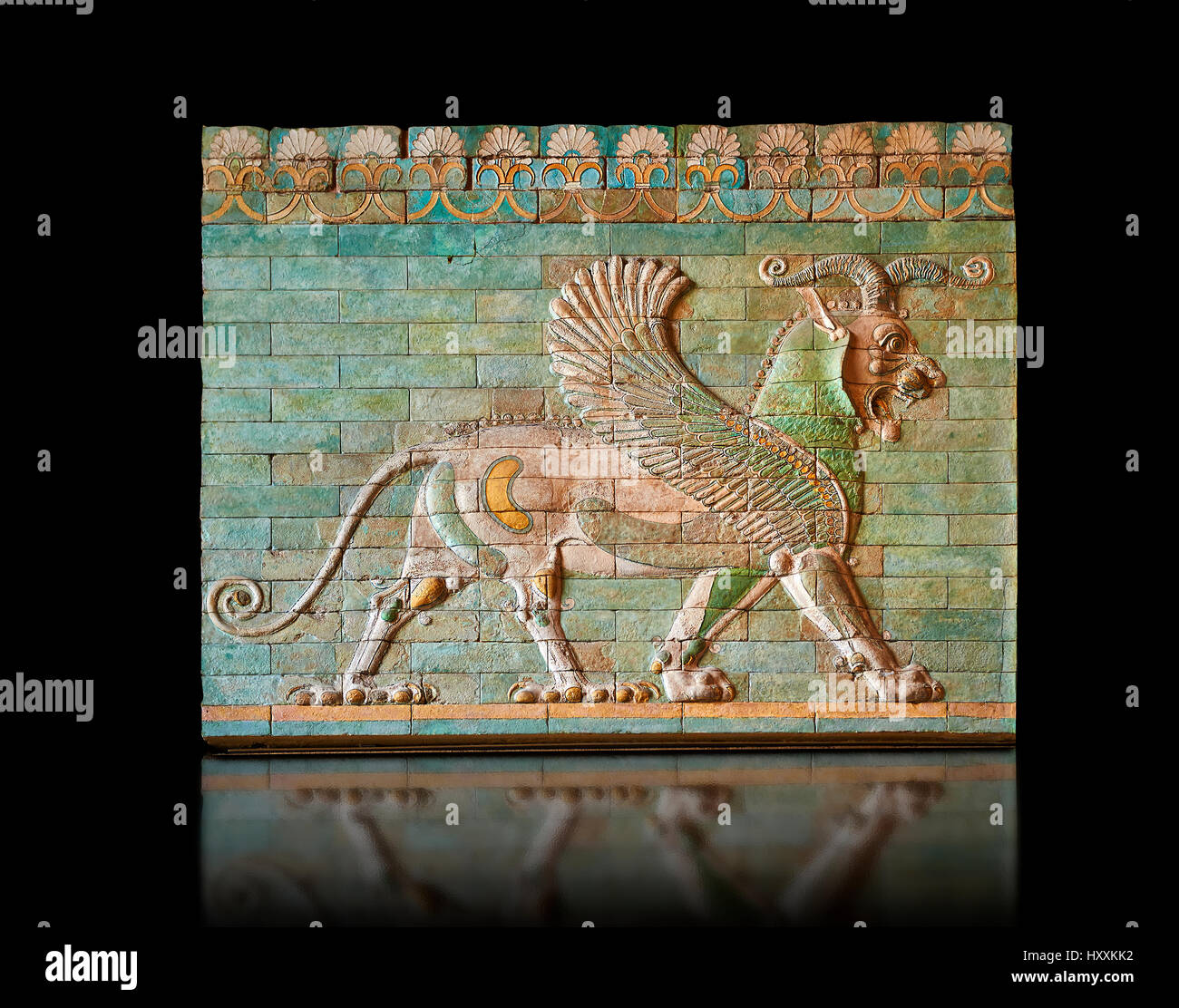 Glazed terracotta tiled panels depicting mythical Griffins. Reign of Darius 1st,  First Persian or Achaemenid Empire. - Stock Image