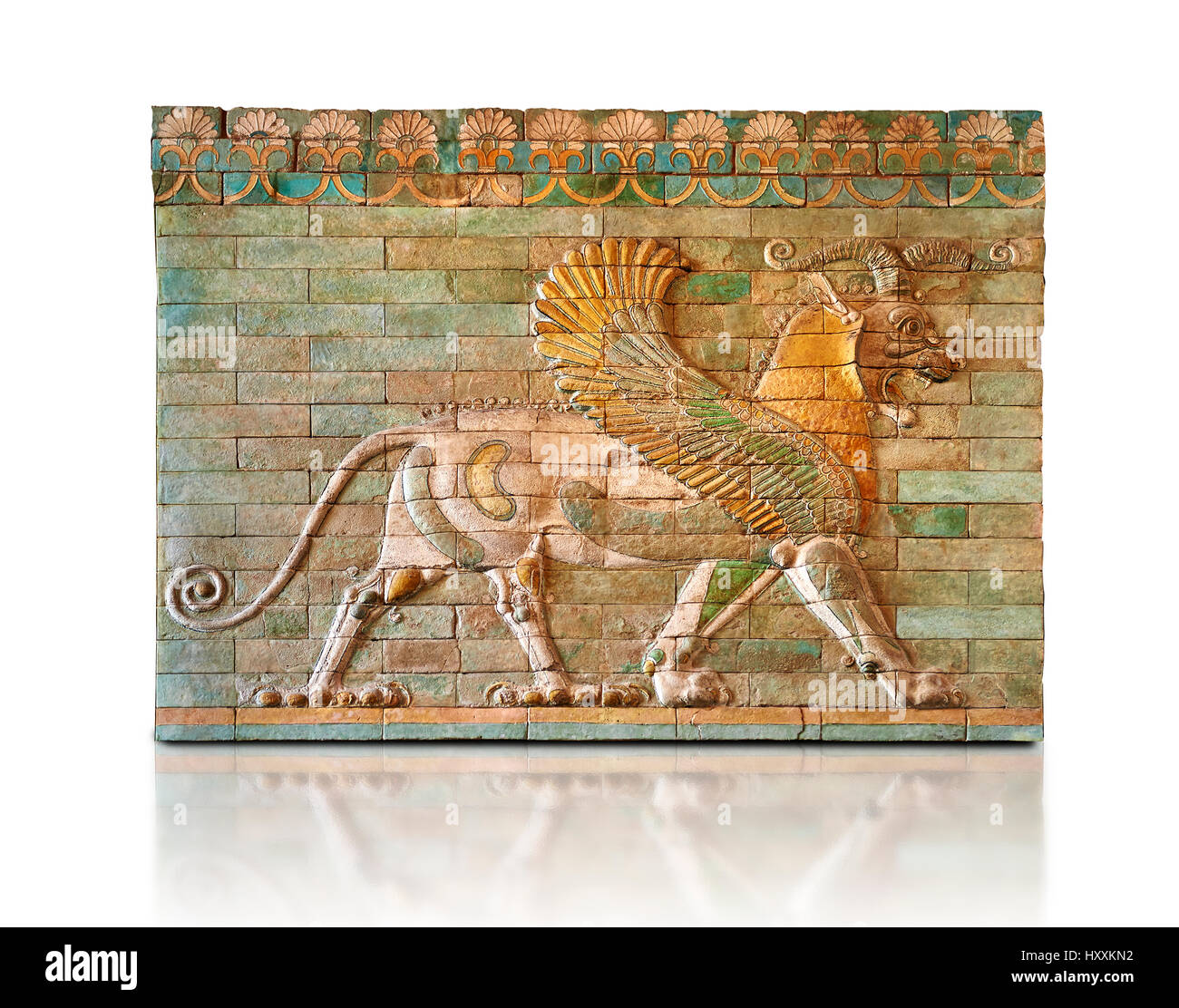 Glazed terracotta tiled panels depicting mythical Griffins. Reign of Darius 1st,  First Persian Empire. Susa C. - Stock Image