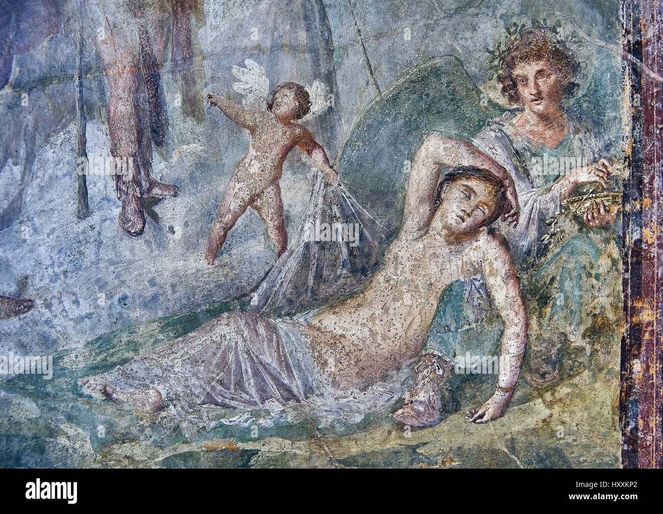 Roman fresco wall painting of Dionysus who, with the aid of a cupid, discovers Ariadne in a deep sleep, Pompeii - Stock Image