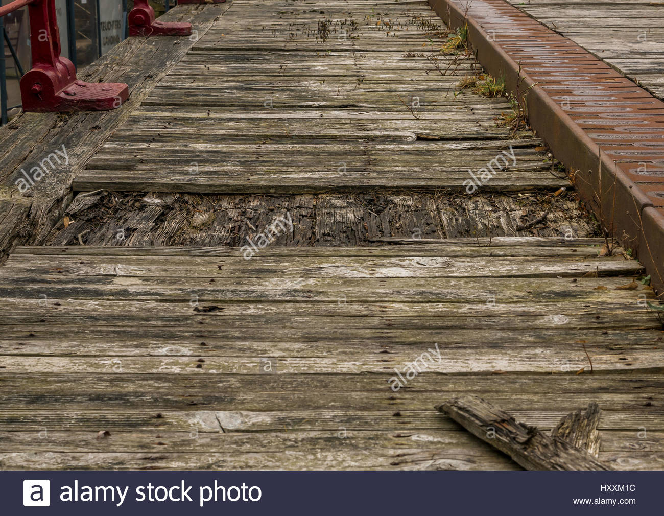 Close up of rotting broken wooden planks on old disused bridge, Leith, Edinburgh, Scotland, UK - Stock Image