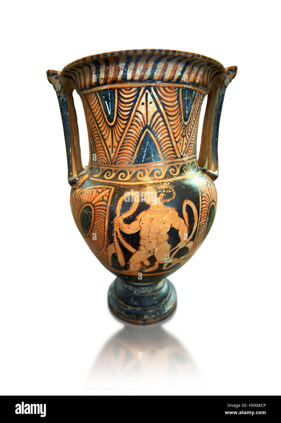 Etruscan Hellenistisc style column Krater, 300B.C, made in Volterra , National Archaeological Museum Florence, Italy, - Stock Image