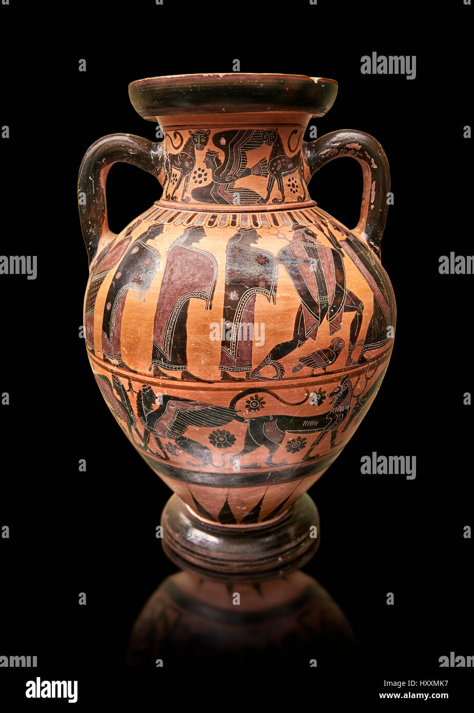 560-550 B.C Etruscan attica style amfora painted in the style of Lydos, inv 70995,   National Archaeological Museum - Stock Image