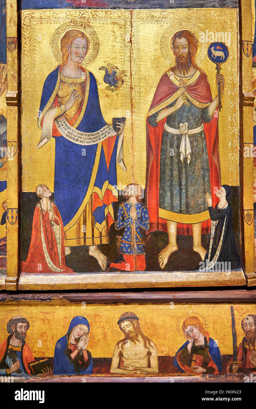 Gothic painted Panel Altarpiece of the Saints John by  Master of Santa Coloma de Queralt. Circa 1356. MANC inv no: - Stock Image