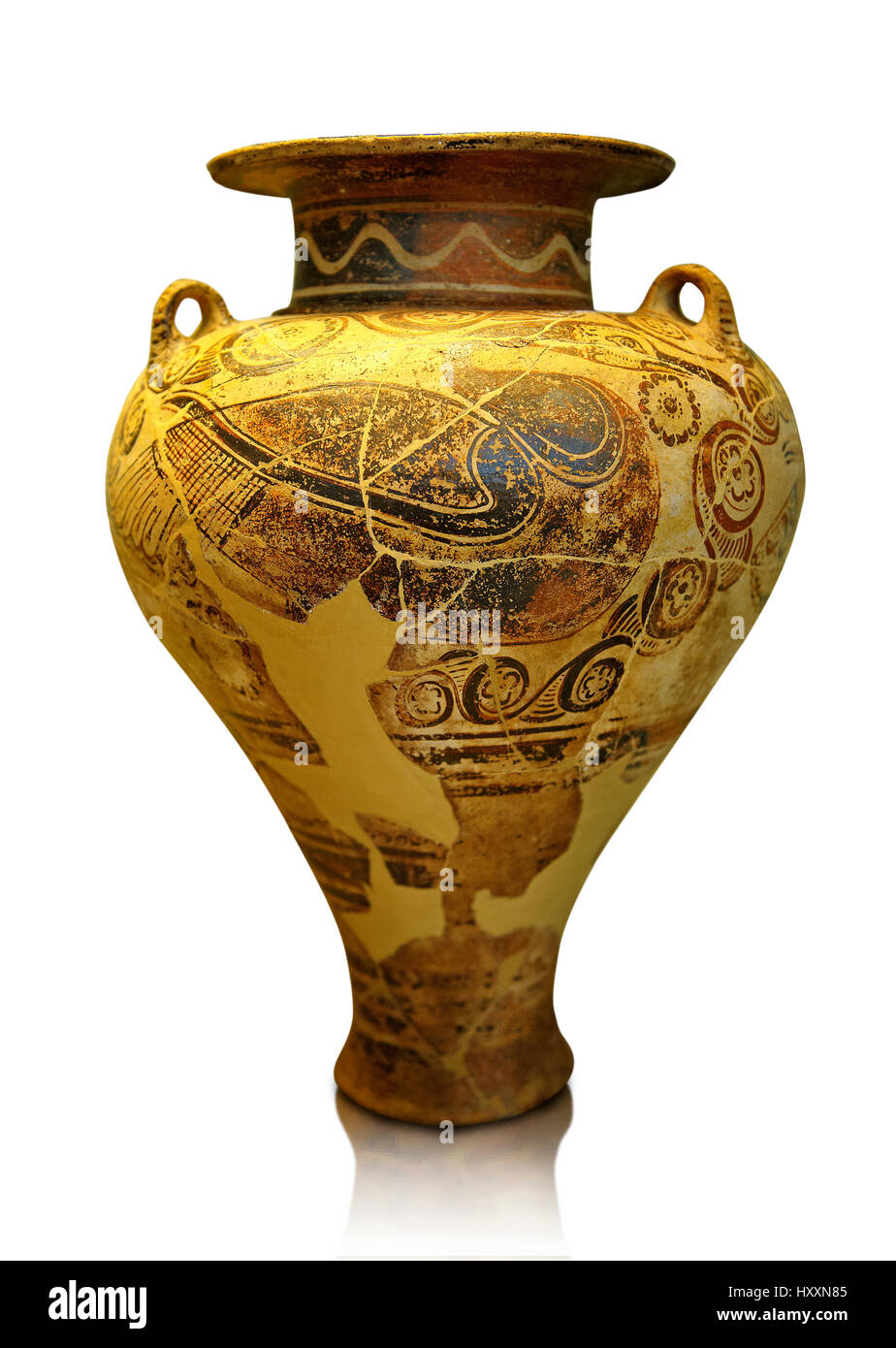 Jug decorated with stylised birds bands showing Cycladic and Minoan influences.   Mycenae Grave find, Greece. 15th Stock Photo
