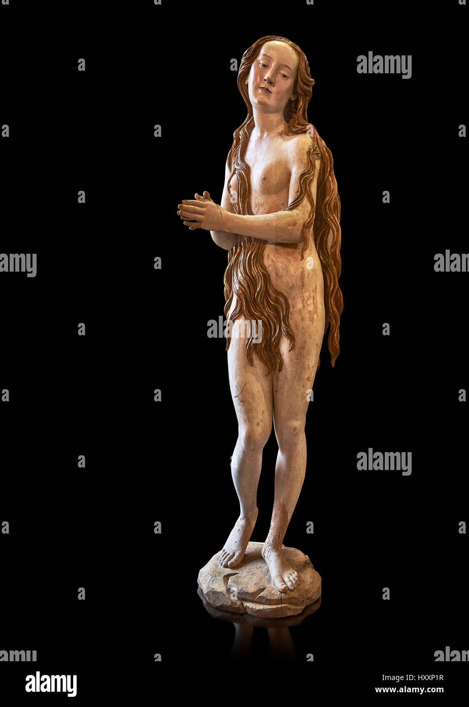 Painted plaster statue of Saint Mary Magdalene, circa 1515-1520,  St. Mary Magdalene Dominican convent of Augsburg, - Stock Image