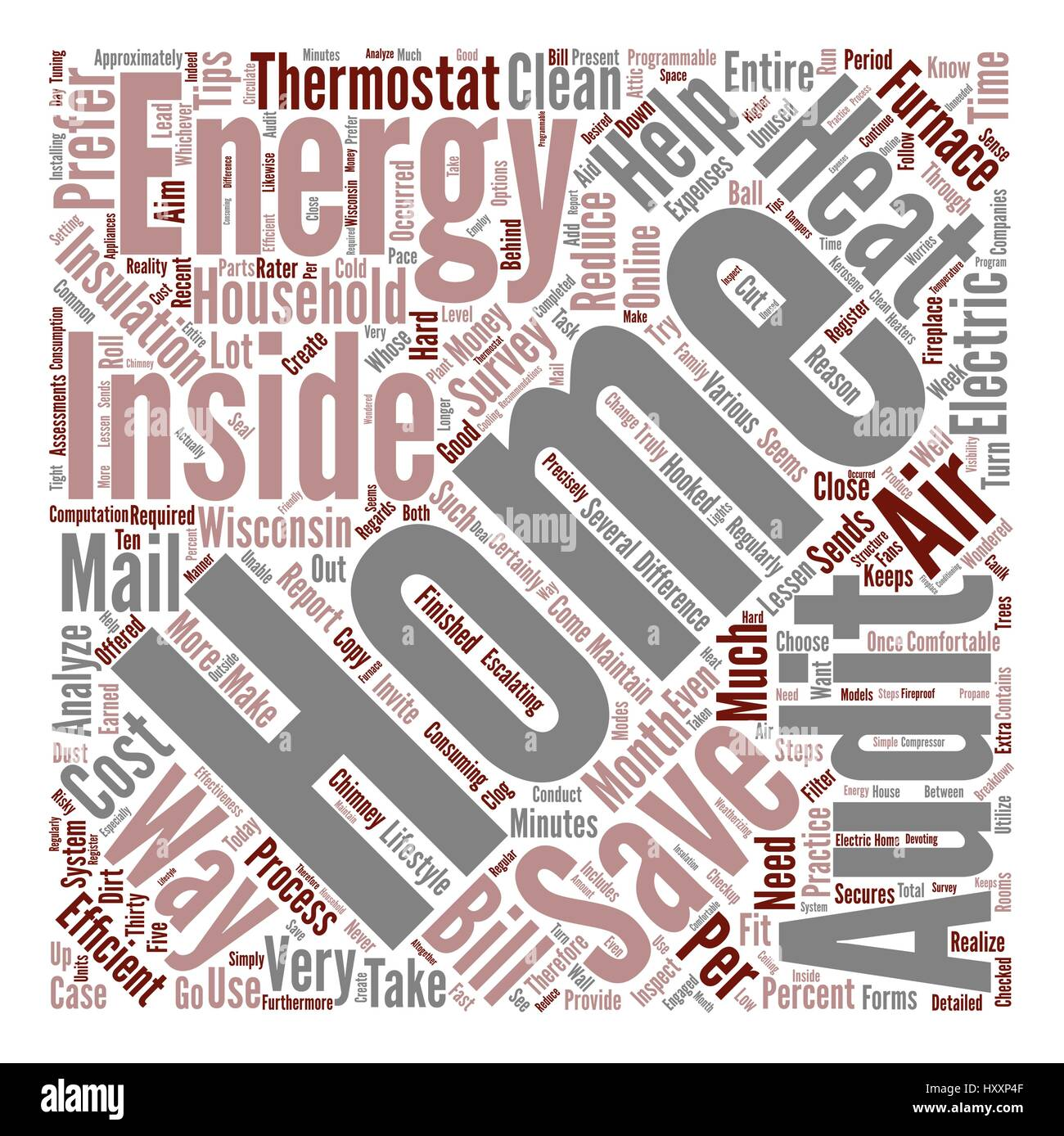 wisconsin home energy audits text background word cloud concept Stock Vector
