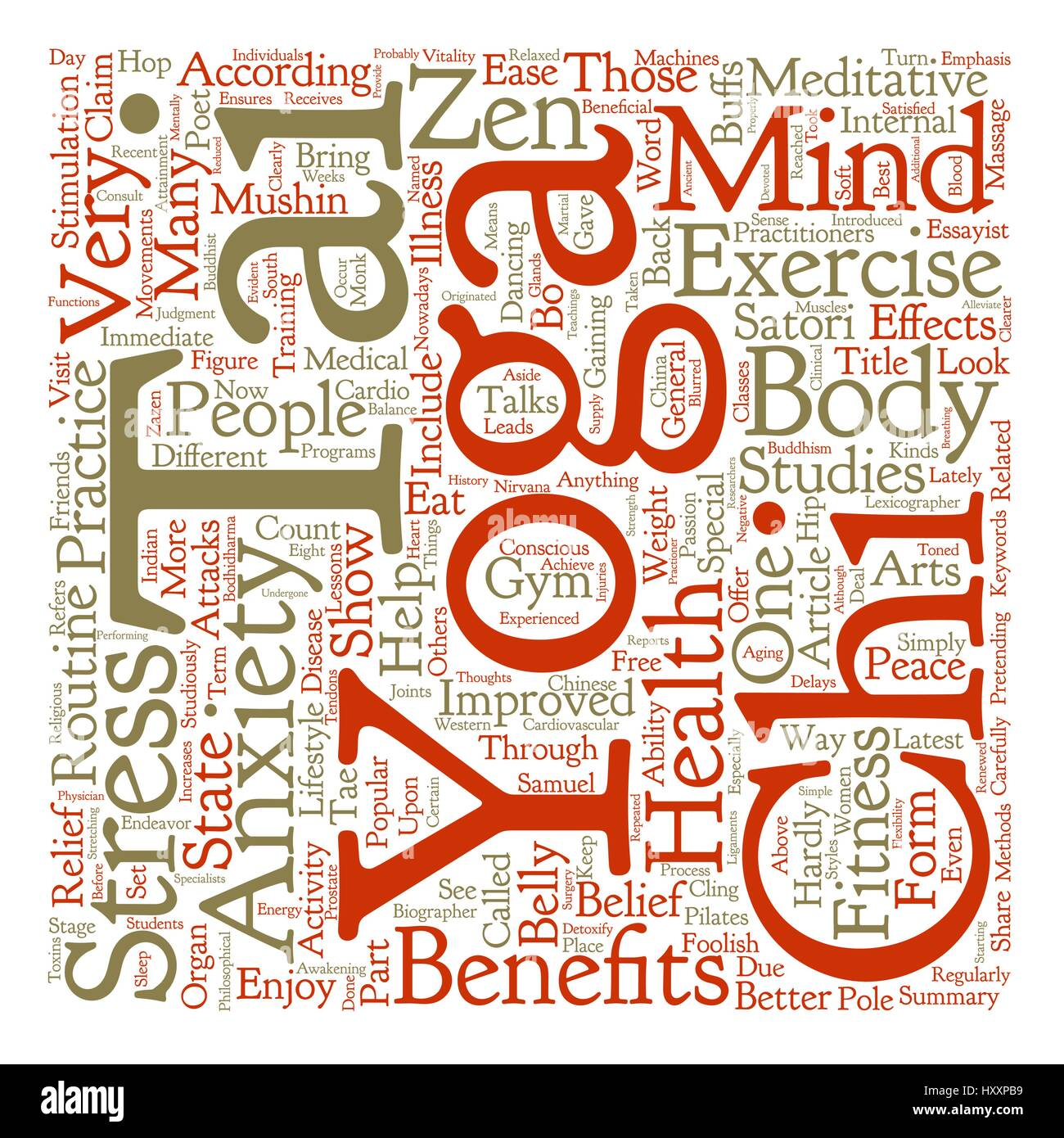 Yoga Tai Chi and the State of Zen text background word cloud concept - Stock Vector