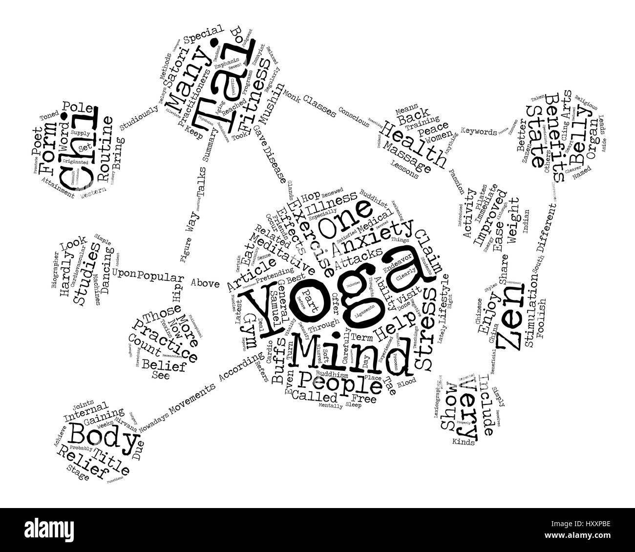 Yoga Tai Chi and the State of Zen Word Cloud Concept Text Background - Stock Vector