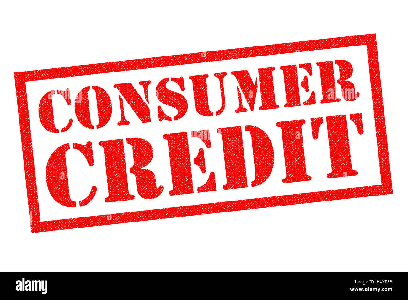 CONSUMER CREDIT red Rubber Stamp over a white background. - Stock Image
