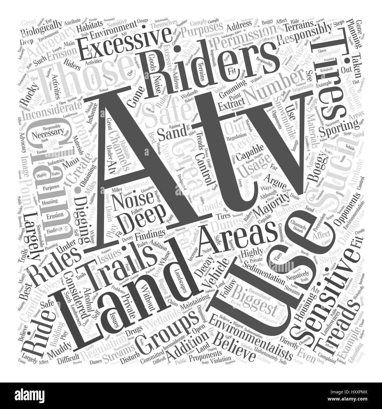 atvs and land usage Word Cloud Concept - Stock Image