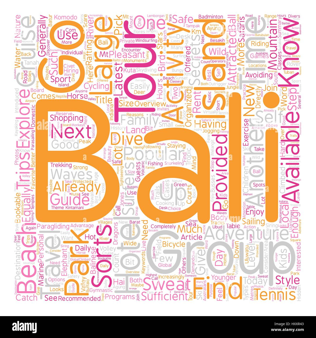 Bali What To Do And Where To Go text background wordcloud concept - Stock Vector