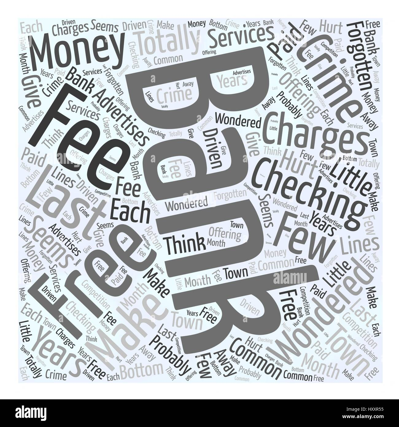 Bank Charges that are a Crime Word Cloud Concept - Stock Vector