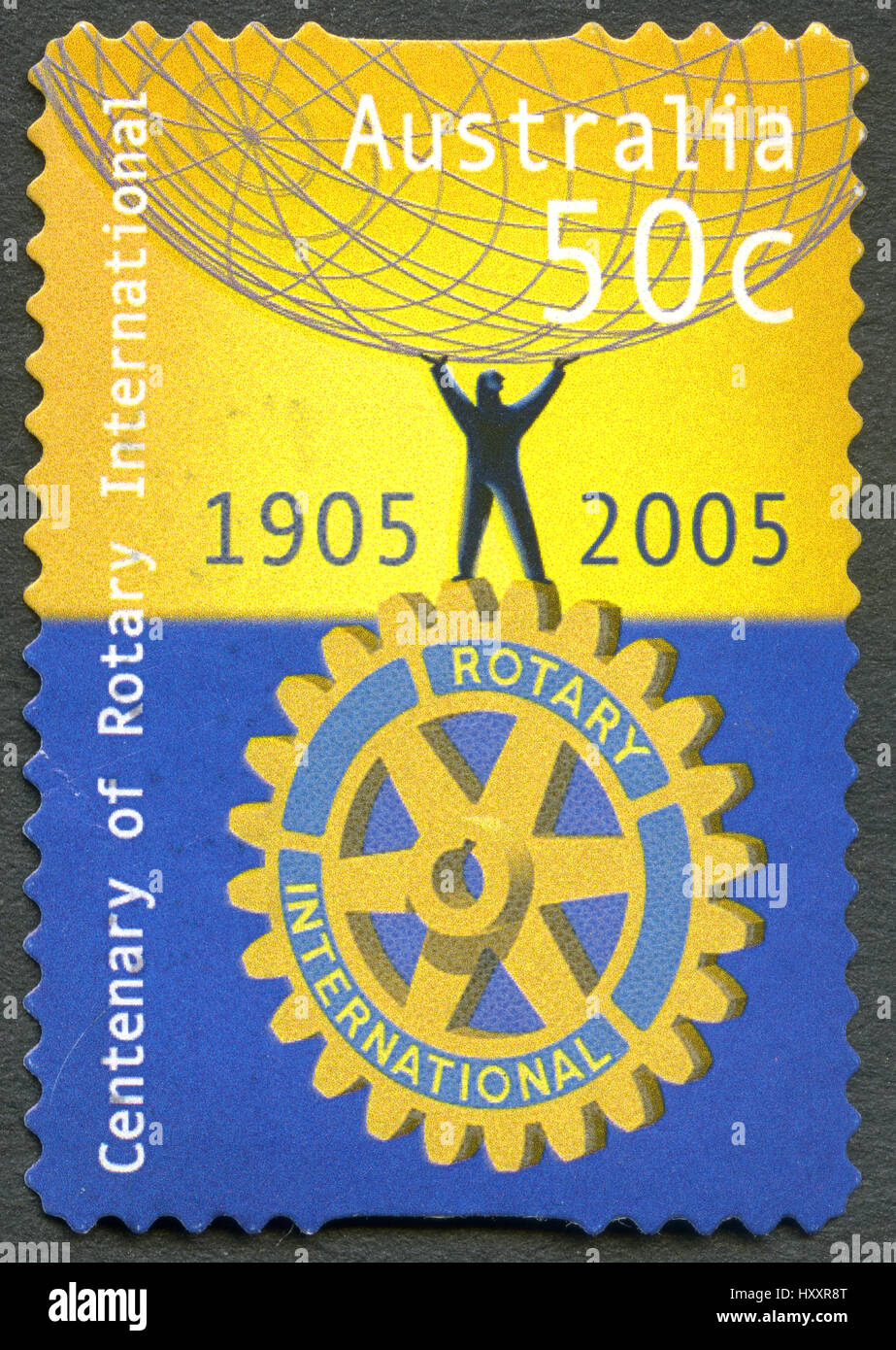 AUSTRALIA - CIRCA 2005: A used postage stamp from Australia, celebrating the centenary of Rotary International, - Stock Image