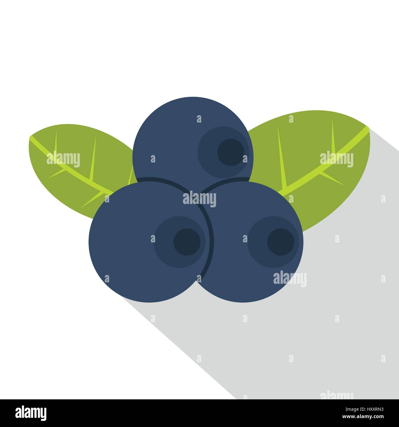 Fresh blueberries with leaves icon, flat style - Stock Vector
