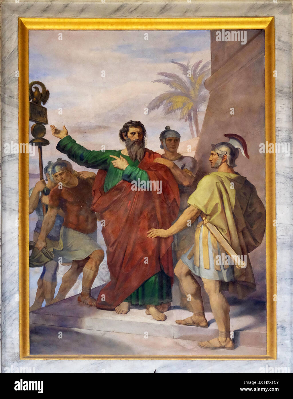 The fresco with the image of the life of St. Paul: Paul is Sent to Rome, basilica of Saint Paul Outside the Walls, - Stock Image