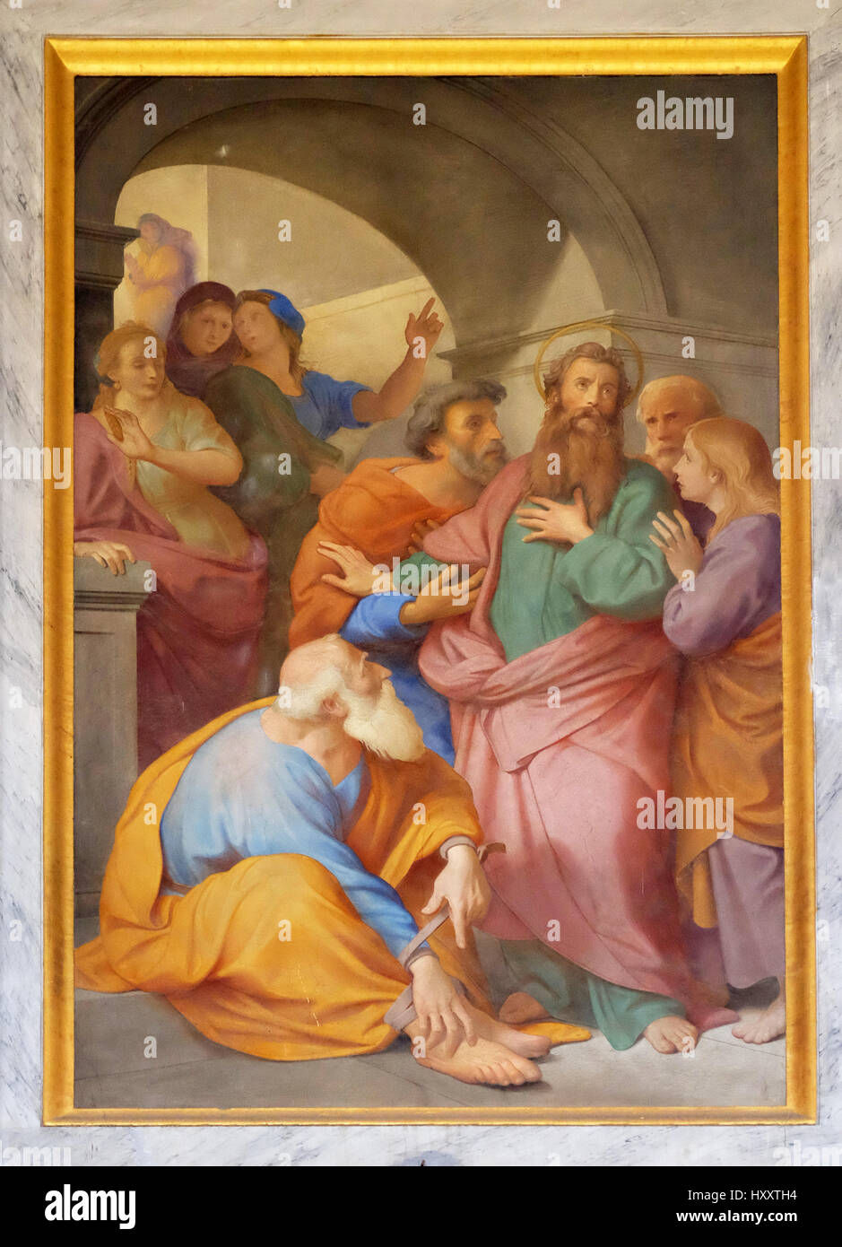The fresco with the image of the life of St. Paul: Paul is Warned about the Jerusalem Mob, basilica of Saint Paul - Stock Image