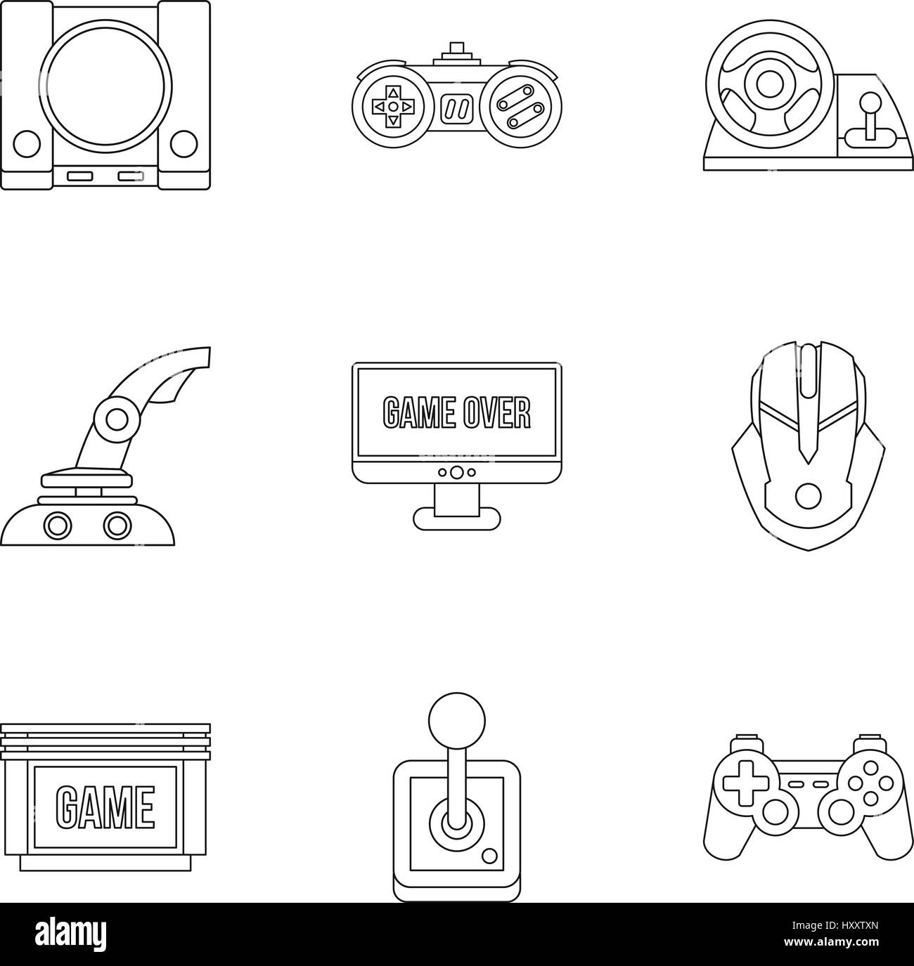 Fantasy games icons set, outline style - Stock Image