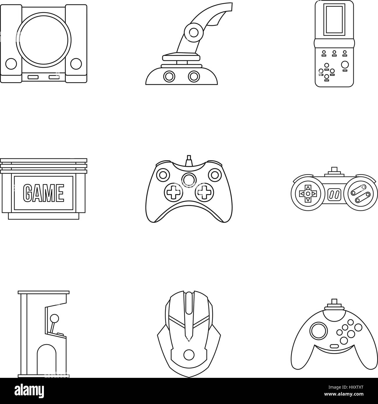 Computer games icons set, outline style - Stock Image