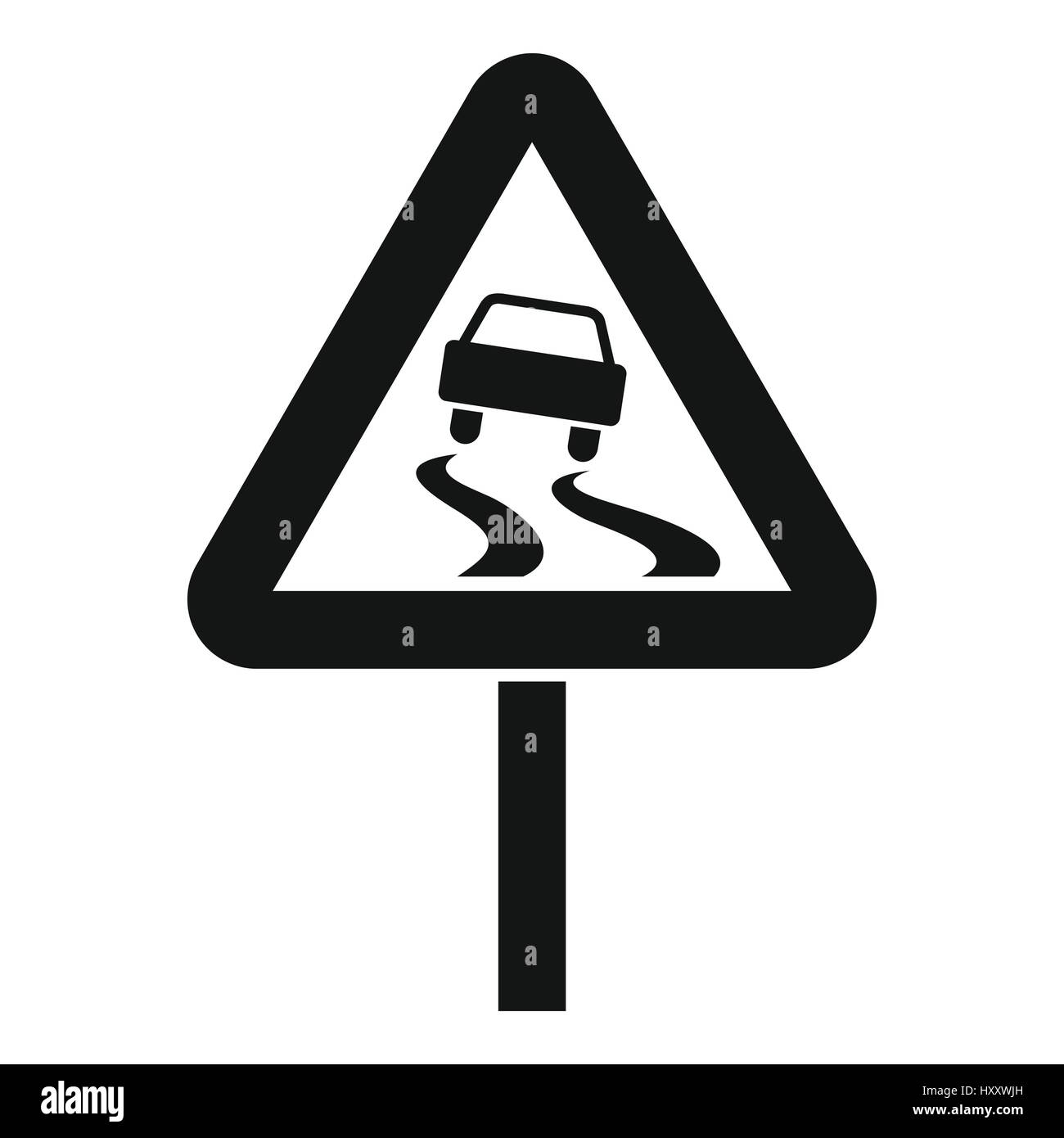 Slippery when wet road sign icon, simple style - Stock Image