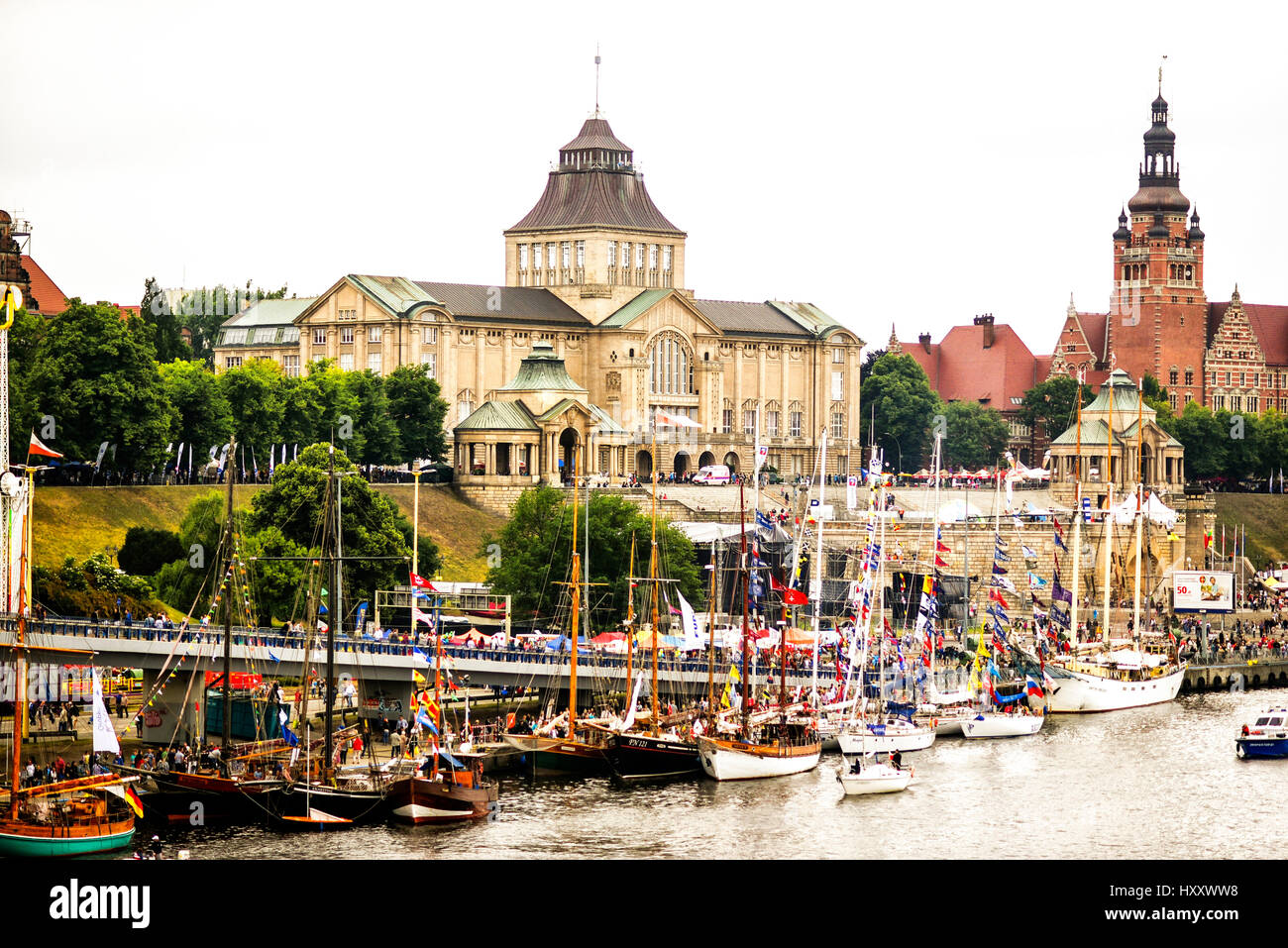 View of Waly Chrobrego in Szczecin during Tall Ships Races 2015 - Stock Image