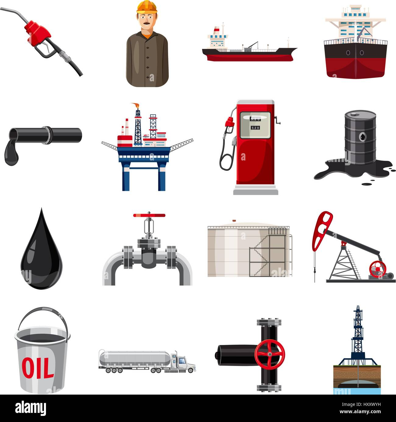 Oil production icons set, cartoon style Stock Vector
