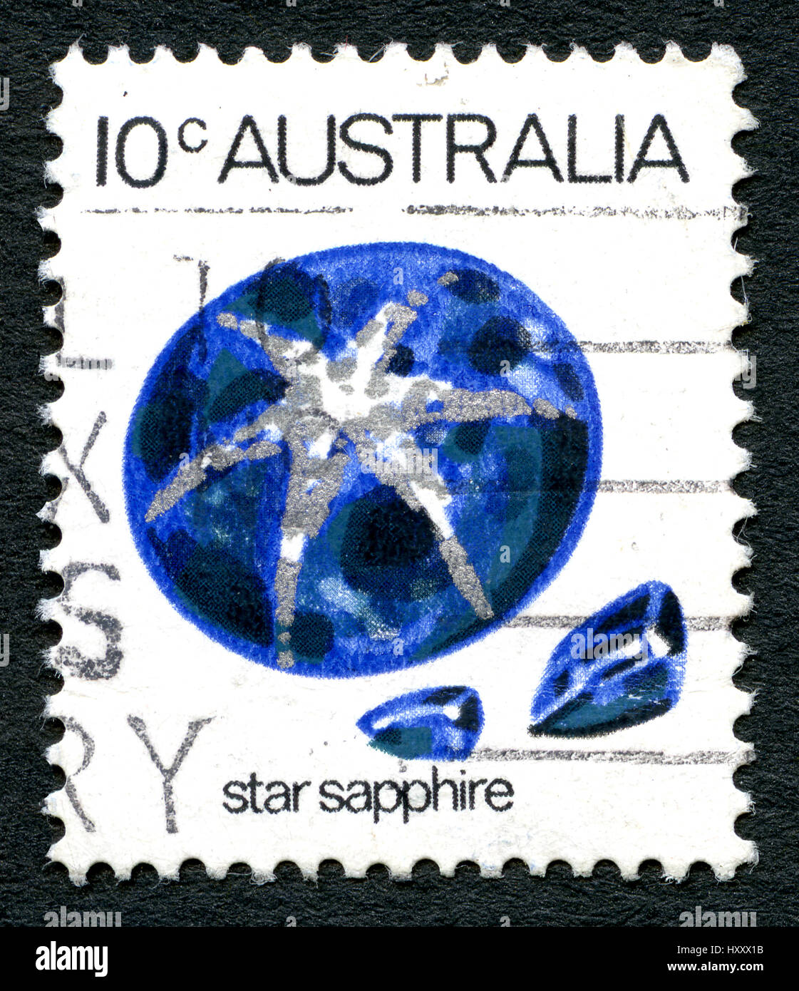AUSTRALIA - CIRCA 1973: A used postage stamp from Australia, depicting an illustration of a Star Sapphire gemstone, - Stock Image