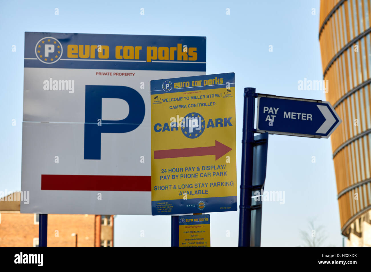 Euro Car Parks Signs In Private Parking Car Park Manchester Stock