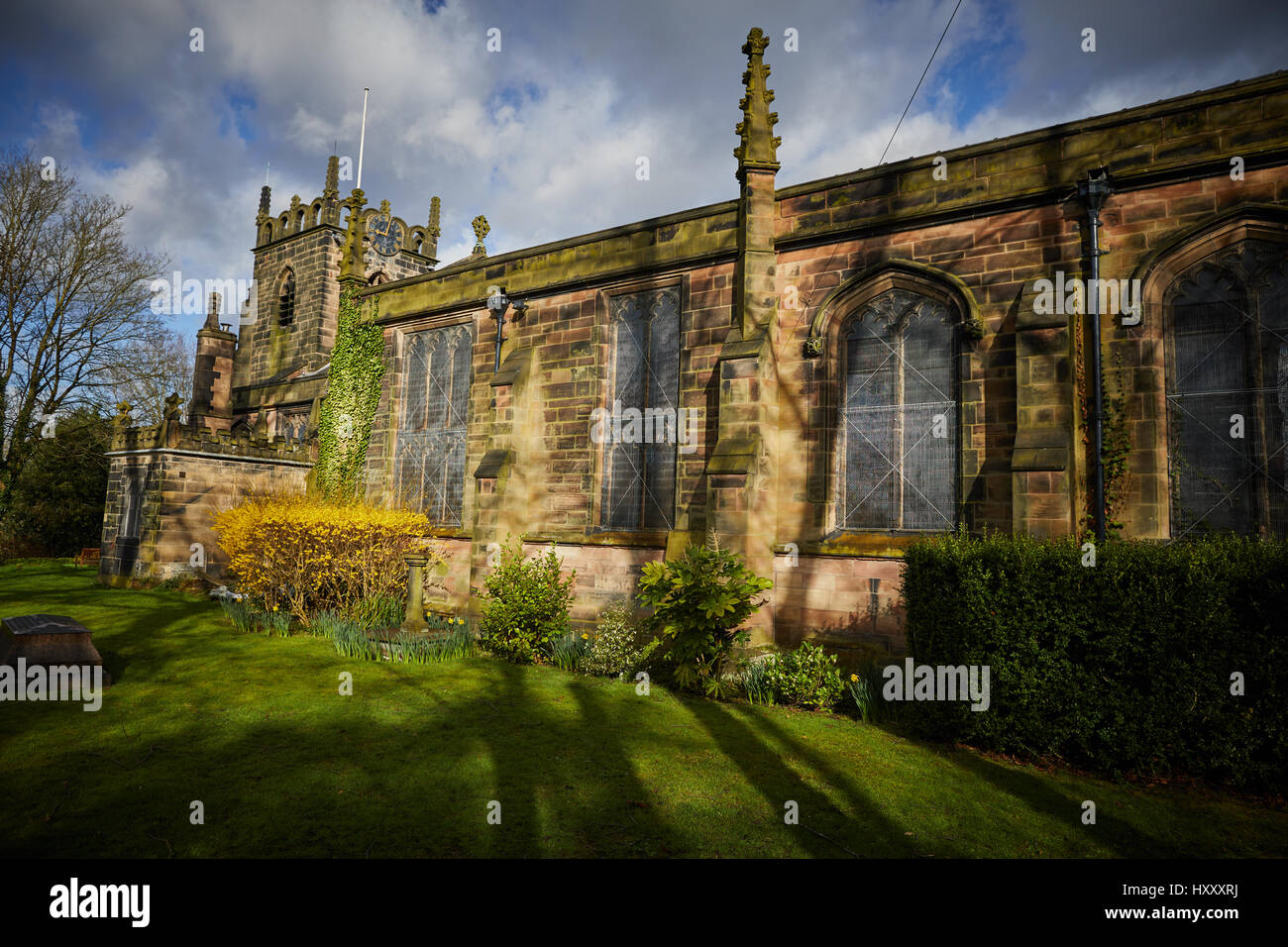 Sunny day at St James Church exterior  on Stenner Lane in Didsbury,  Manchester, England, UK, - Stock Image
