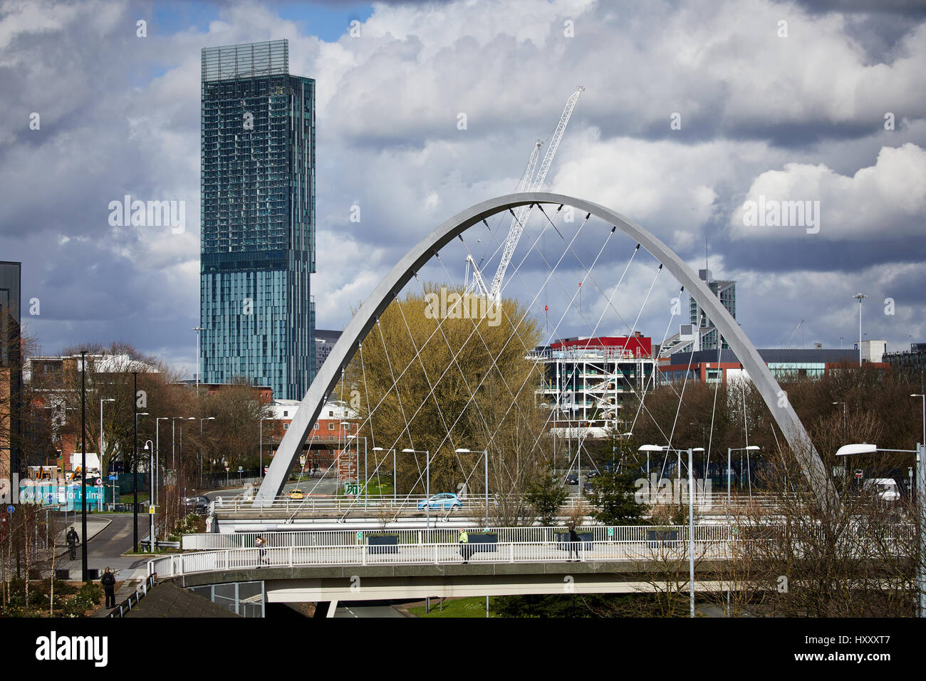 Hulme arch frames the Skyline and Beetham Tower South Manchester ...