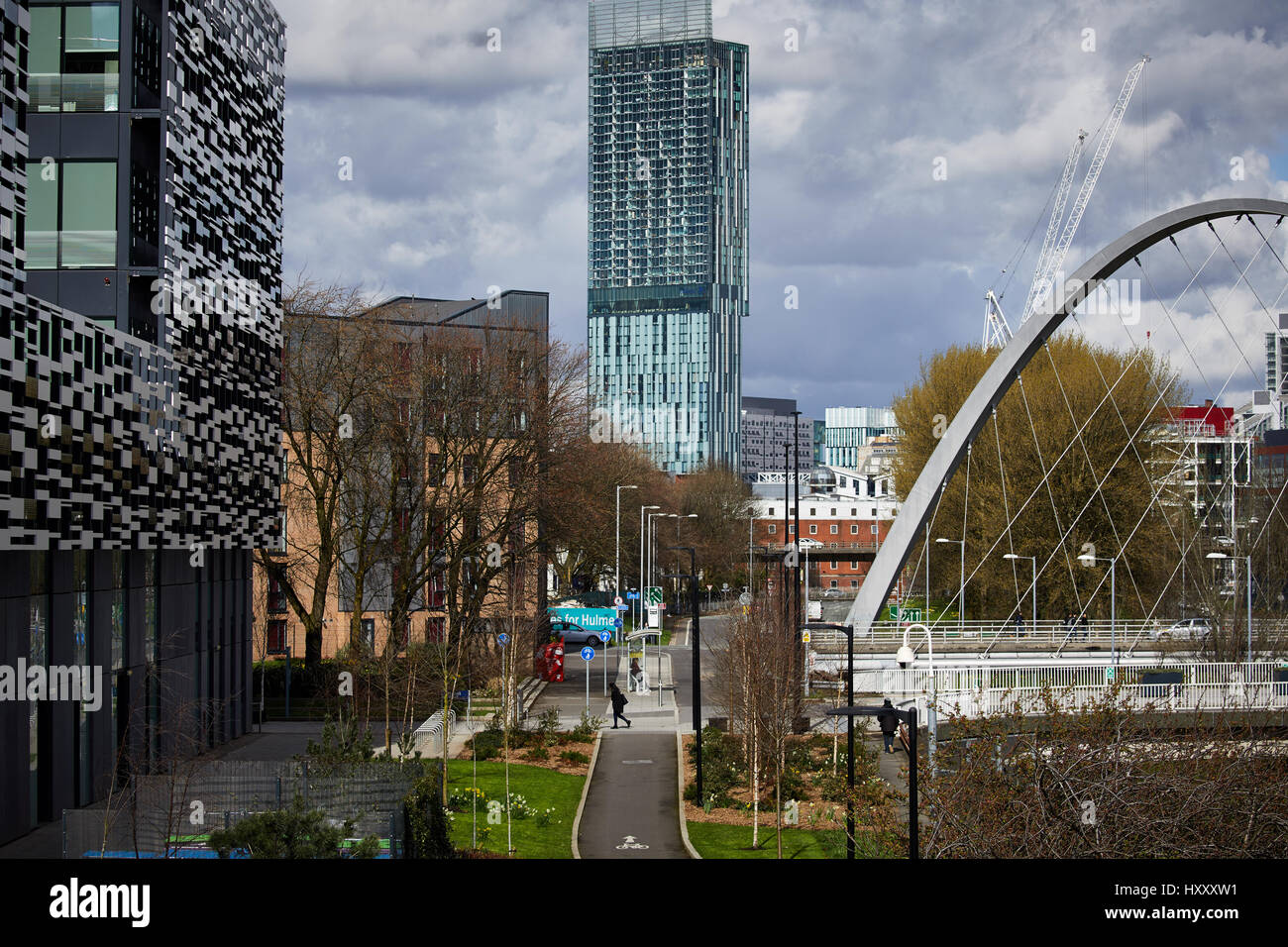 Hulme arch and MMU modern university campus frames the Skyline and ...