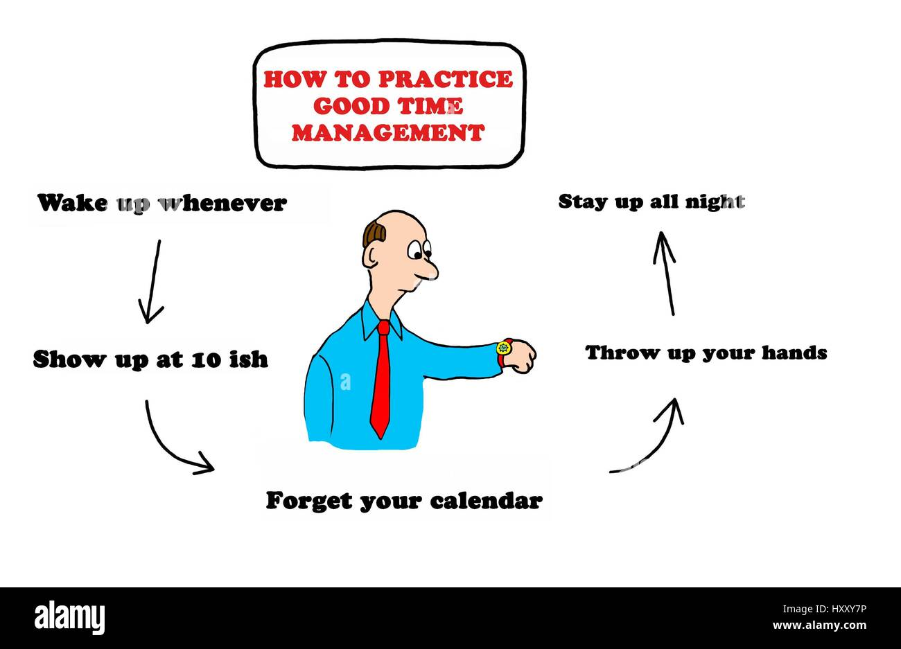 Cartoon Illustration About Poor Time Management Stock Photo Alamy