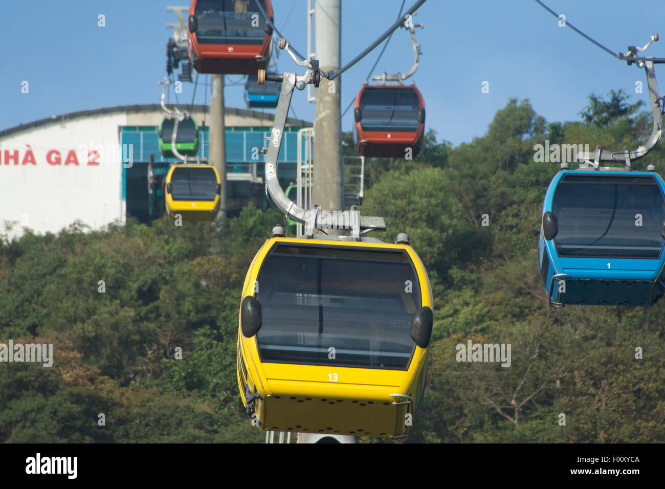 The gondole ride up to the Hồ Mây amusement park, at the Vietnamese seaside resort of Vung Tau Stock Photo