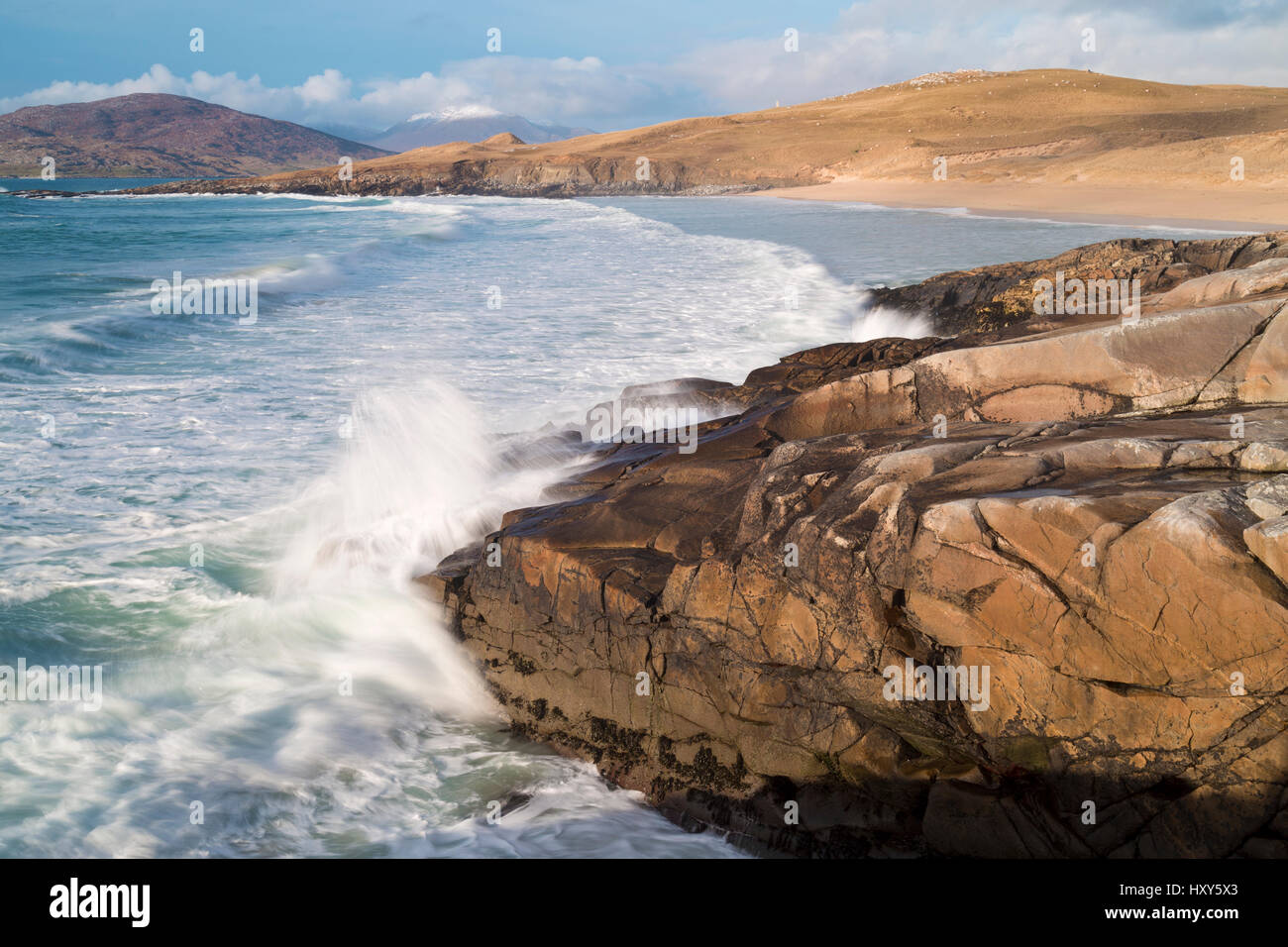 Atlantic coastline of South Harris, Outer Hebrides - Stock Image