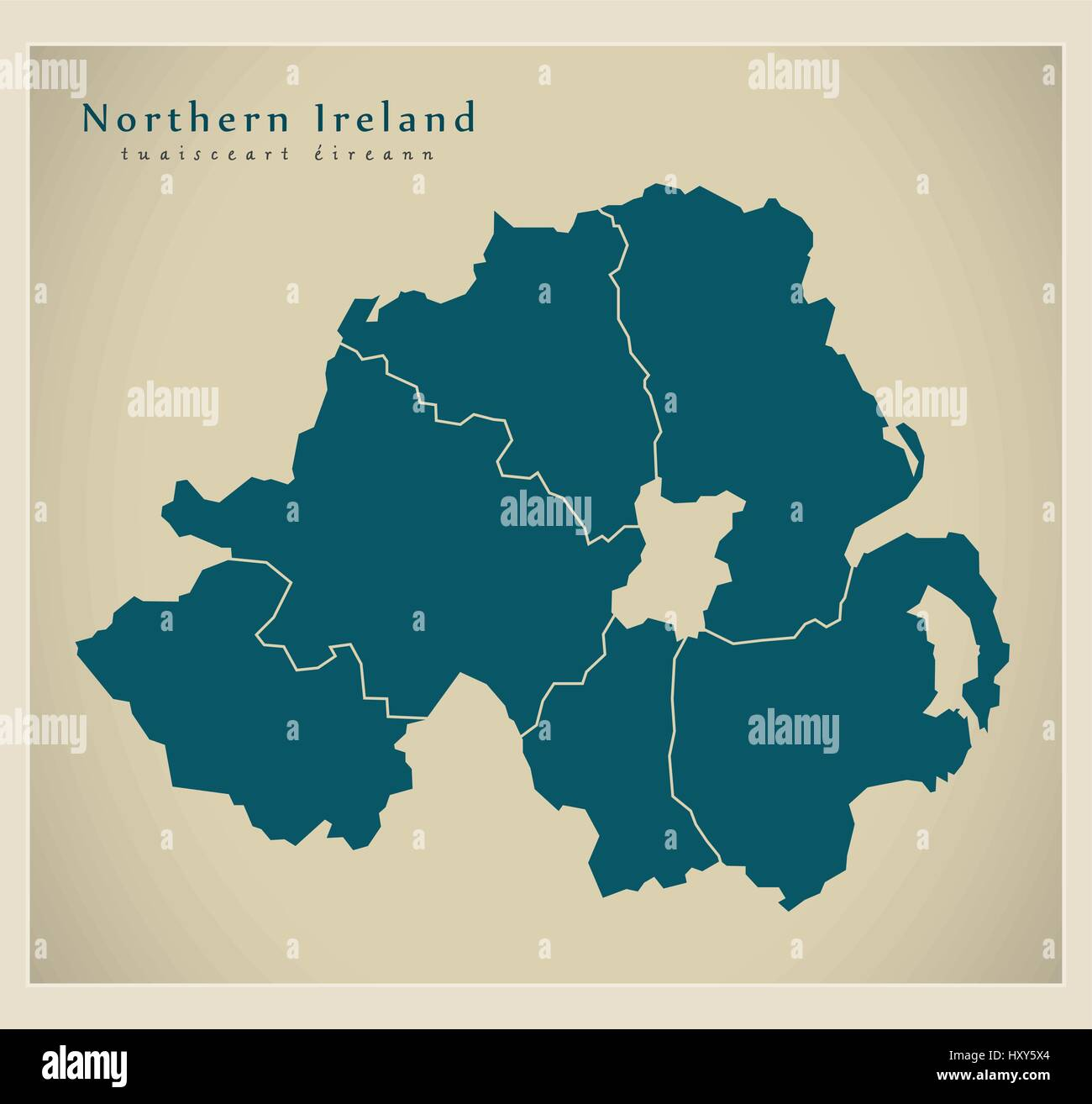 Map Of Ireland By County.Modern Map Northern Ireland With Counties Uk Stock Vector Art