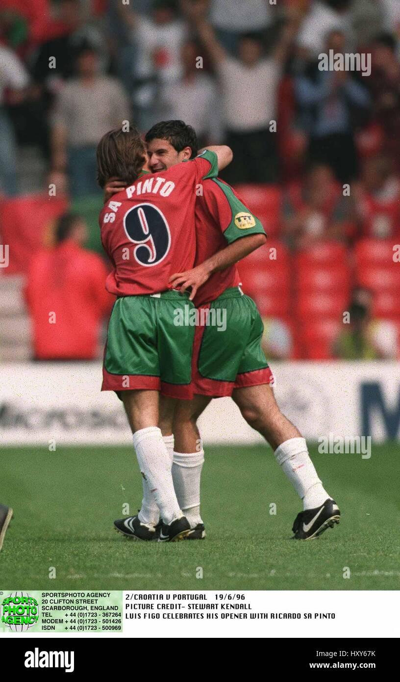 SA PINTO & LUIS FIGO CROATIA V PORTUGAL 19 June 1996 - Stock Image