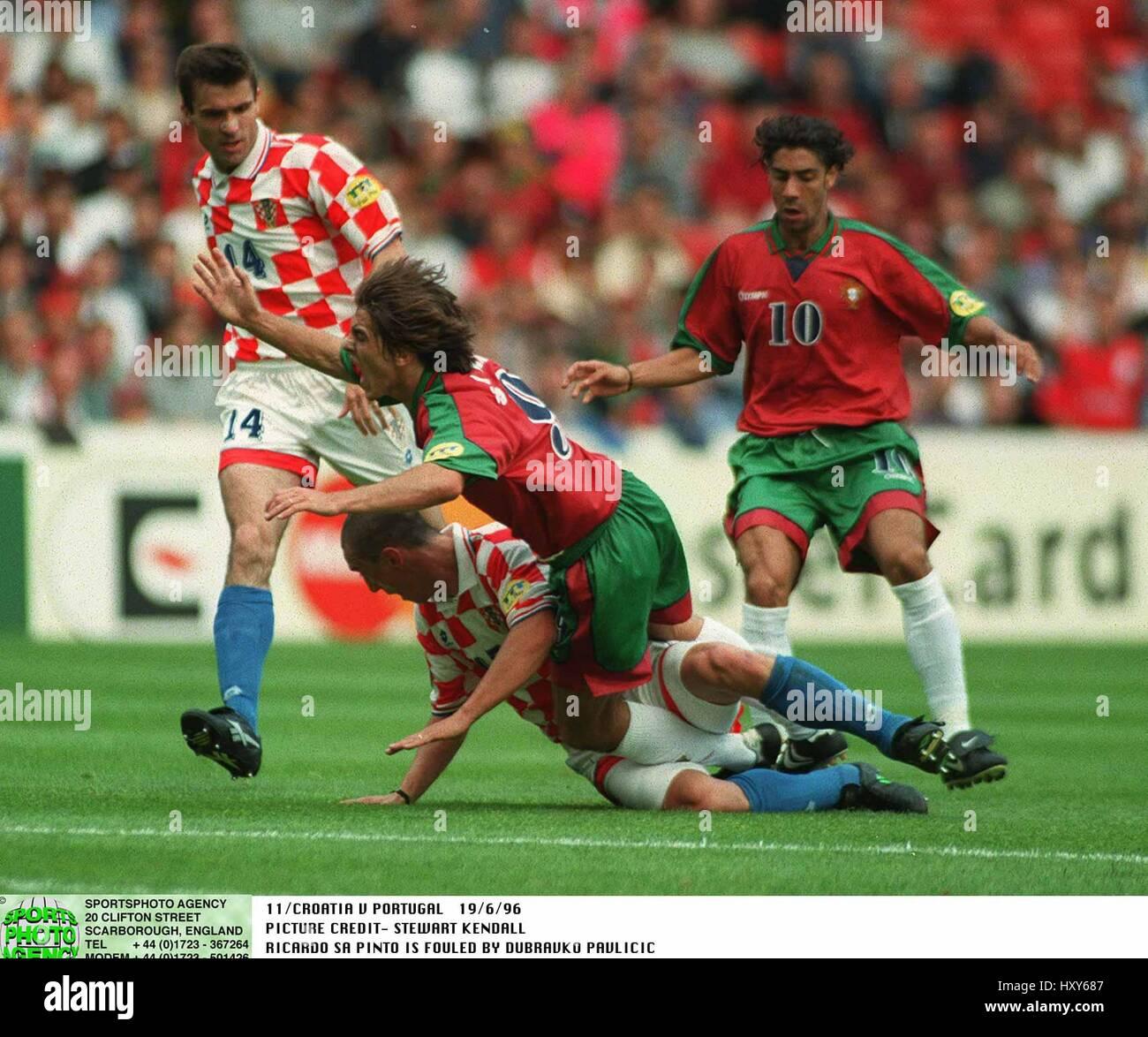 RICARDO SA PINTO & PAVLICIC CROATIA V PORTUGAL 19 June 1996 - Stock Image