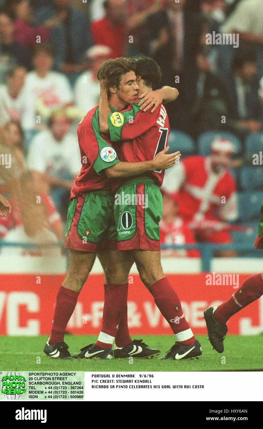 RICARDO SA PINTO & RUI COSTA DENMARK V PORTUGAL 09 June 1996 - Stock Image
